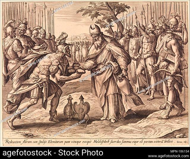 The Meeting of Abraham and Melchizedek, from The Story of Abraham. Series/Portfolio: The Story of Abraham; Artist: Adriaen Collaert (Netherlandish, Antwerp ca