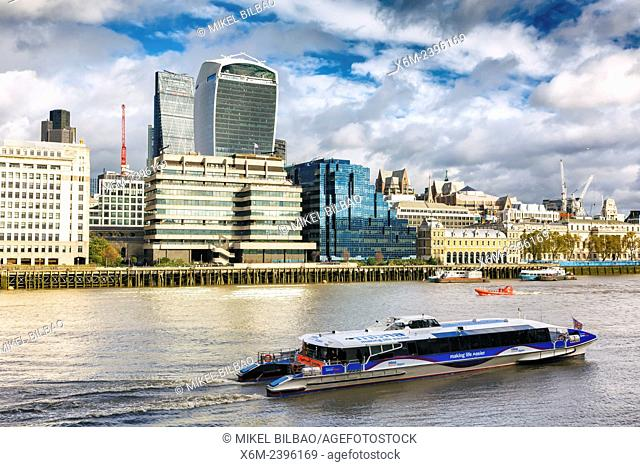 City view and Thames river. London. Great Britain, Europe