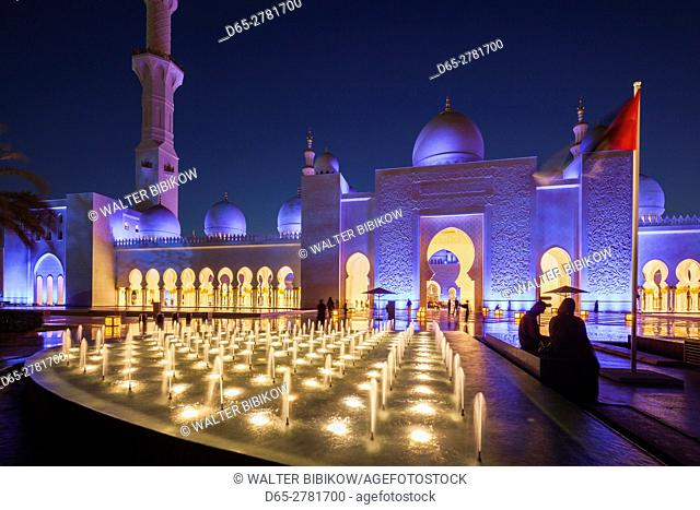 UAE, Abu Dhabi, Sheikh Zayed bin Sultan Mosque, exterior, dusk