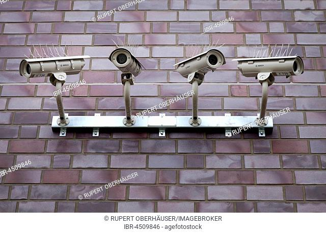 Surveillance cameras, jail, Düsseldorf prison, North Rhine-Westphalia, Germany
