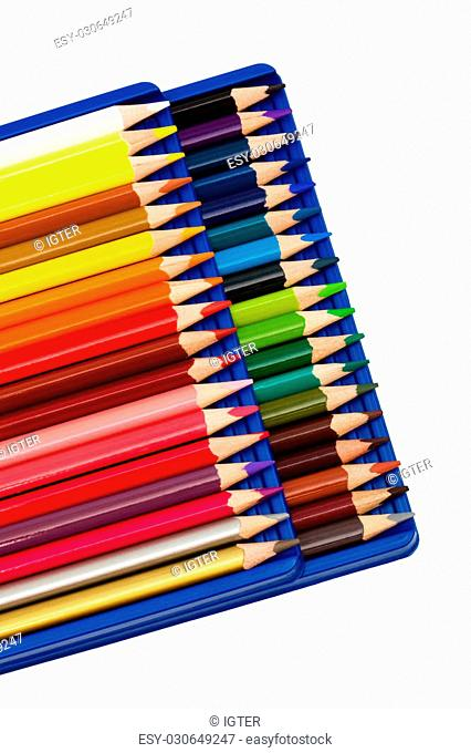 set color pencils on a white background