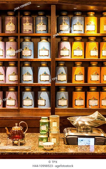England, London, Piccadilly, Fortnum and Mason Store, Display of Tea Caddies