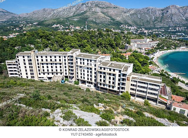 Aerial view on abandoned hotels (Kupari and Goricina) in Kupari, tourist complex destroyed during Croatian War of Independence