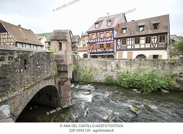 Kaysersberg, Alsace on May 13, 2016. :The famous idyllic Wine Village of Kaysersberg in Alsace near Colmar,France
