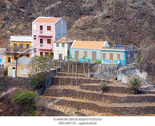 Small iconic mountain village Fontainhas in the mountains of Island Santo Antao, Cape Verde in the equatorial atlantic. April
