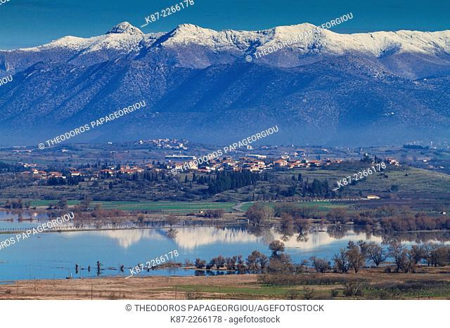 Vouno village over Taka lake. Tegea, Arcadia, Peloponnese