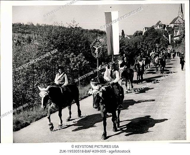 May 18, 1953 - St. Gangolf's Pilgrimage and Ride in Neudenau. As may be followed back in historical sources the farmers of Neudenau are riding out for centuries...