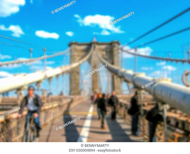 Defocused background with Brooklyn Bridge in New York, United States. Intentionally blurred post production for bokeh effect