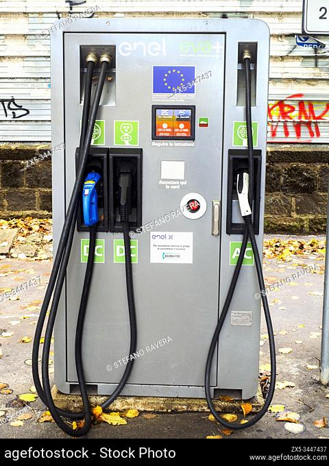 Electric car recharging point - Rome, Italy