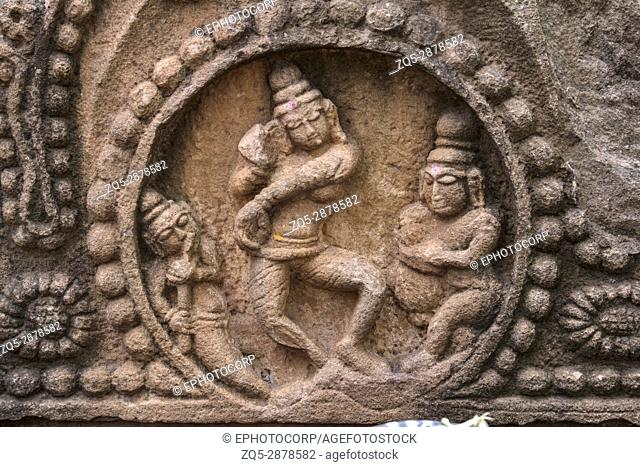 Lord Shiva dance sculpture. Mahakuta Temples, Badami, Karnataka. 6th or 7th century CE constructed by the early kings of the Chalukya dynasty