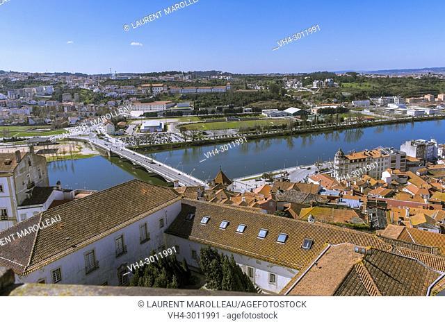 View of Mondego River with Santa Clara in the background, Coimbra, Baixo Mondego, Centro Region, Portugal, Europe