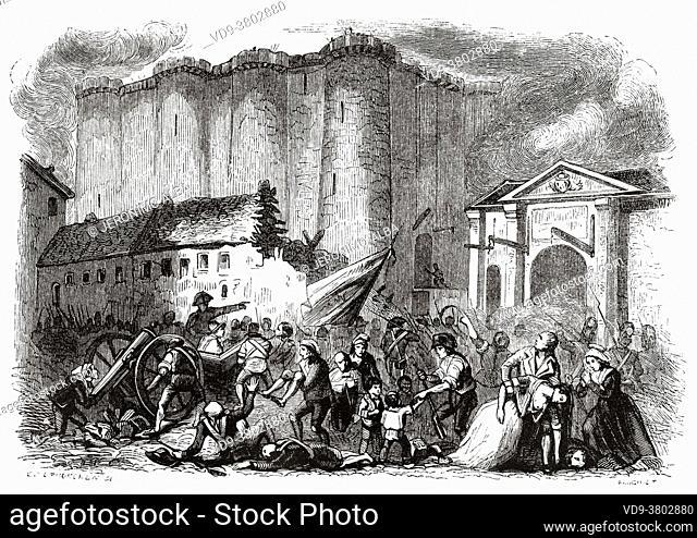 Prison of the Bastille 14 July 1789 Paris. France, French Revolution 18th century. Old engraved illustration from Histoire de la Revolution Francaise 1845