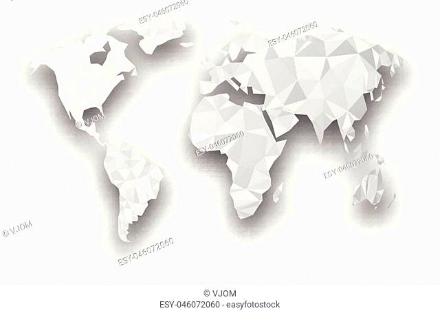 Gray mosaic geometric abstract world map with shadow. Vector paper illustration