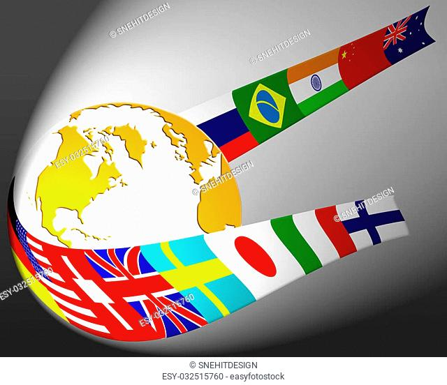 Major country flags wrapped around globe concept