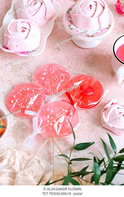 Pink lollipops and marshmallow