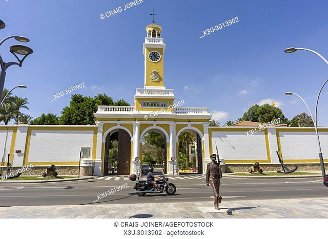 Entrance to the Cartagena Naval Base in the city of Cartagena, Region of Murcia, Spain