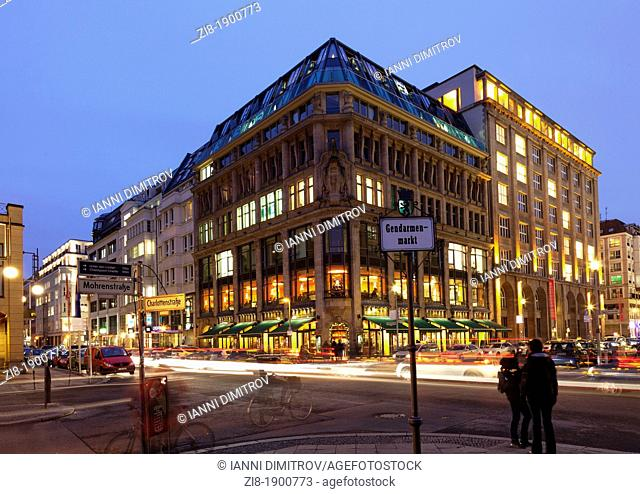 Fassbender & Raush Chocolatiers, Gendarmenmarkt,Mohrenstrasse and Charlottenstrasse corner at night,Berlin,Germany