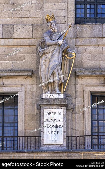 Estatua del rey David en el Real Monasterio de San Lorenzo de El Escorial. Madrid. España