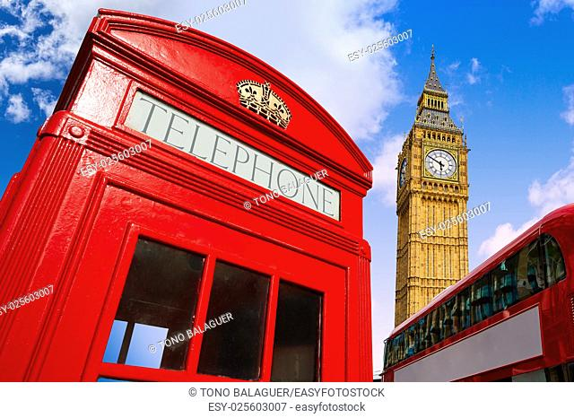 London bus photomount with telephone box and Big Ben