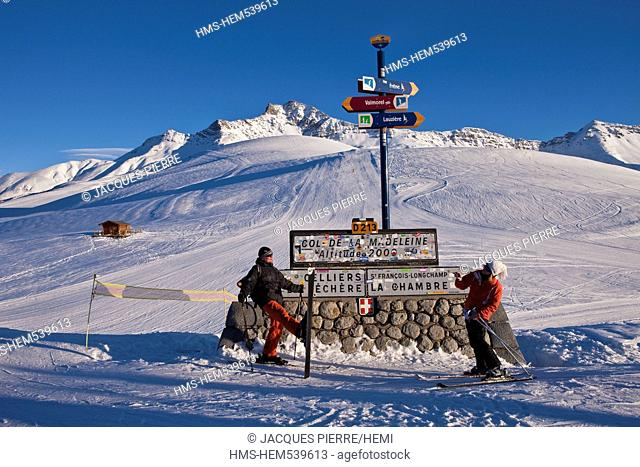 France, Savoie, Valmorel, Massif de la Vanoise, Tarentaise valley, St Franois Longchamp, Maurienne valley, near the souvenir photo signs for Route summer and...
