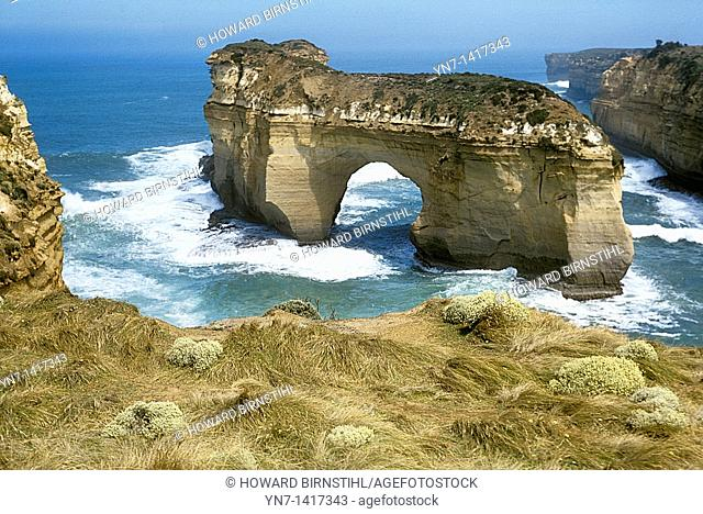 London bridge rock formation off the southern coast of Victoria, Australia before recently crashing into the sea