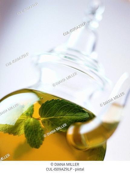 Mint tea in glass teapot