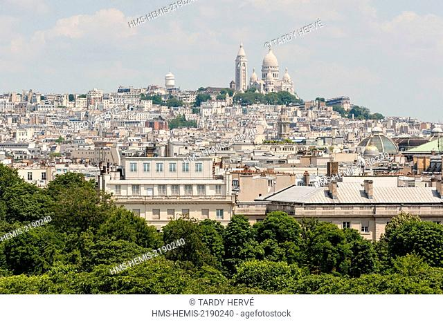 France, Paris, Wide view of the Sacre Coeur (aerial view)