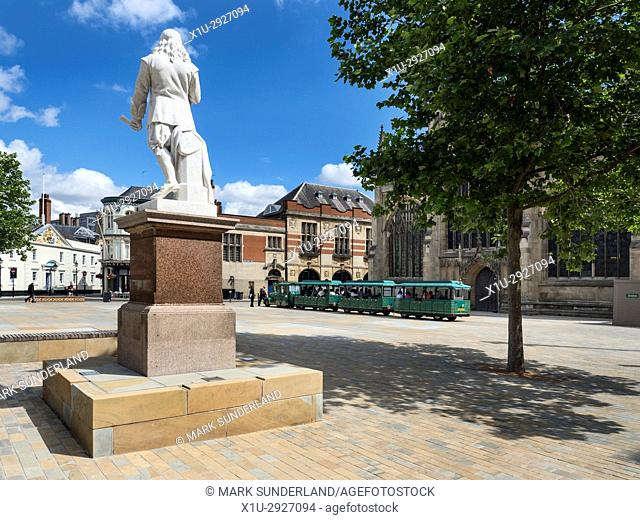 Andrew Marvell Statue in Trinity Square in the Old Town at Hull Yorkshire England