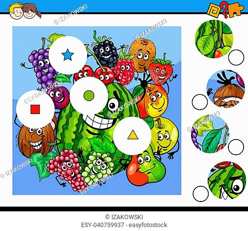 Cartoon Illustration of Educational Match the Pieces Jigsaw Puzzle Game for Children with Fruits Characters