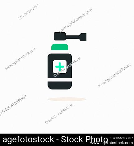 Ear spray. Icon with shadow on a beige background. Pharmacy flat vector illustration