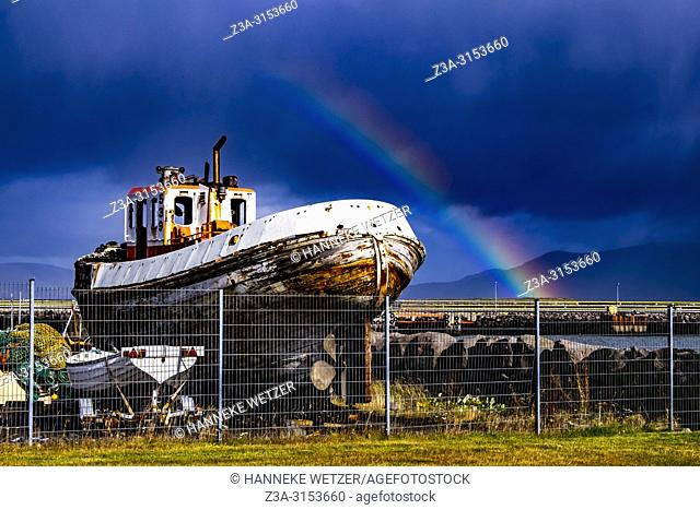 Rainbow at Grandi, Old Harbour of Reykjavik, Iceland