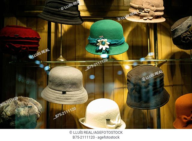 Close up of hats in showcase in a hat shop in the Gothic neighborhood of Barcelona, Spain, Europe