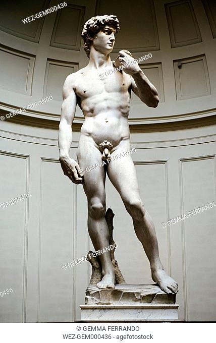 Italy, Florence, Michelangelo's David in Galleria dell'Accademia