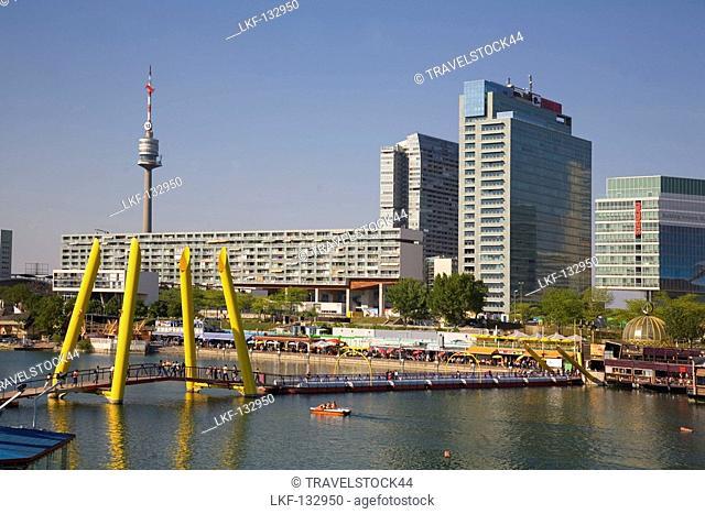 Vienna Donau Island footbridge Danube Island, background UNO City