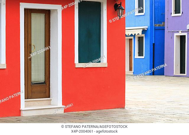 Colorful Buildings and Facades, Burano Island, Venice, Italy