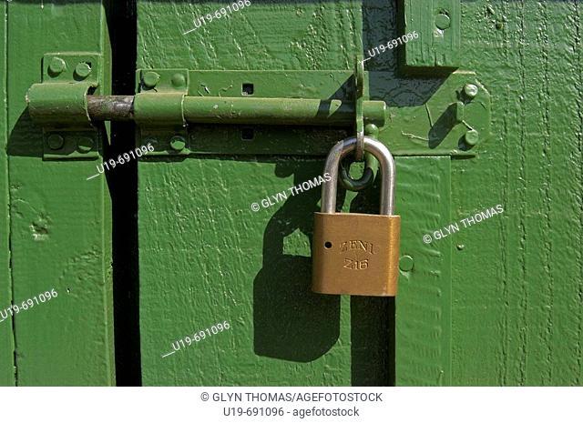 Padlock on a door