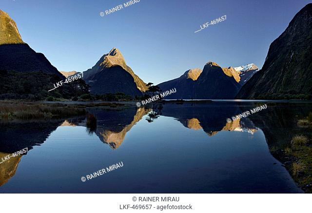 Milford Sound with reflection, Fiordland National Park, Southland, South Island, New Zealand