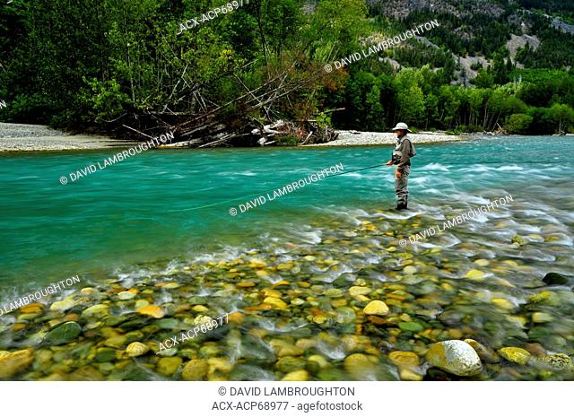 man fishing on the Dean River, British Columbia, Canada