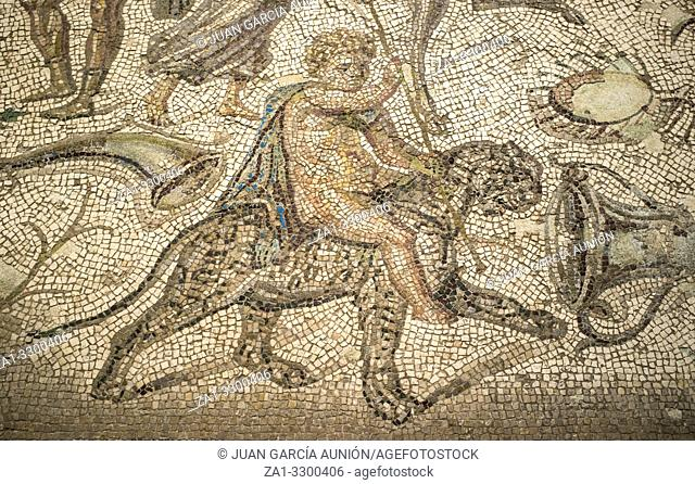 Bacchic Mosaic of The Gift of Wine at Ecija History Museum, Spain. Bachus over panther detail