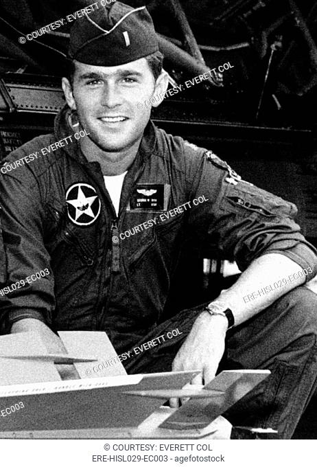 George W. Bush as a 1st Lt. in the Texas Air National Guard where he served from 1968 to 1973