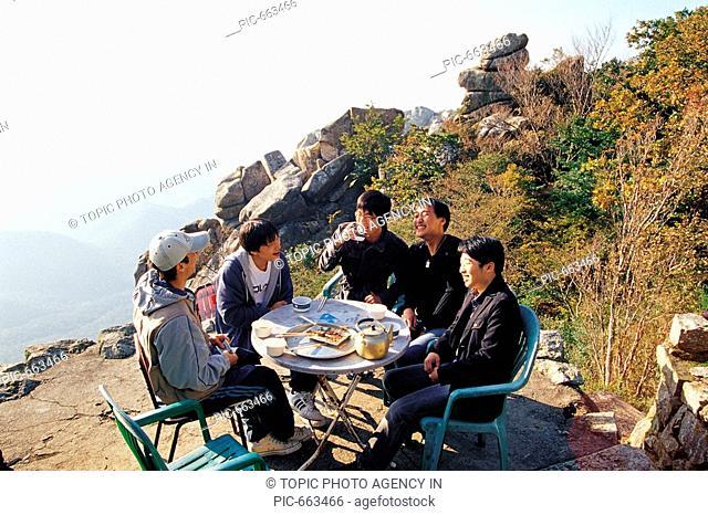 Young Korean Man Gathering,Mt.Keumsan,Namhae Island,Gyeongnam,Korea