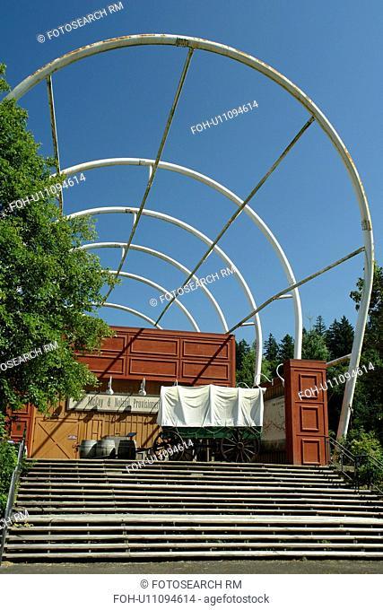 Oregon City, OR, Oregon, End of the Oregon Trail Interpretive Center, Visitor Center, covered wagon