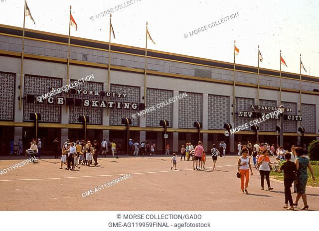 Scene of summertime visitors walking by the entrance of the New York City Pavilion Building in Flushing Meadows Park, Queens, New York City, June, 1967
