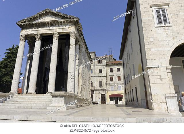 Roman temple of Augustus in the Forum place, Pula in Istria Croatia