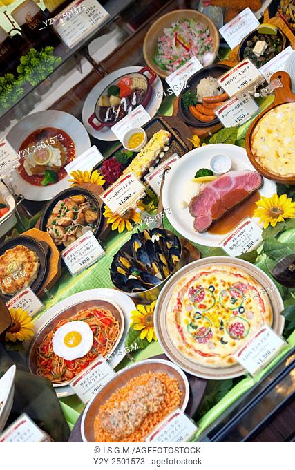 Restaurant with parafine food samples, Japan