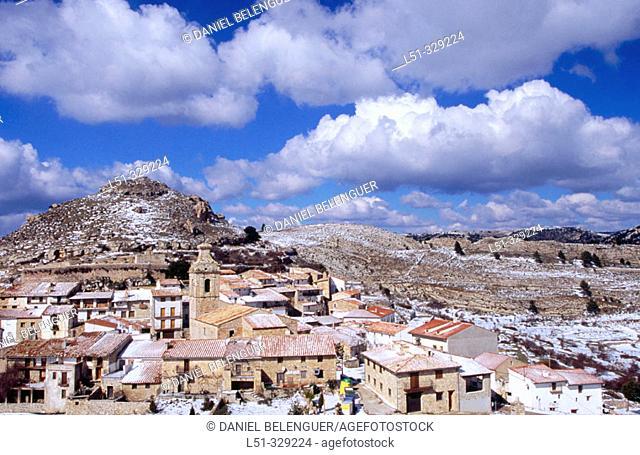 Castell de Cabres (Tinença de Benifassà) snow covered. Castellon province, Spain