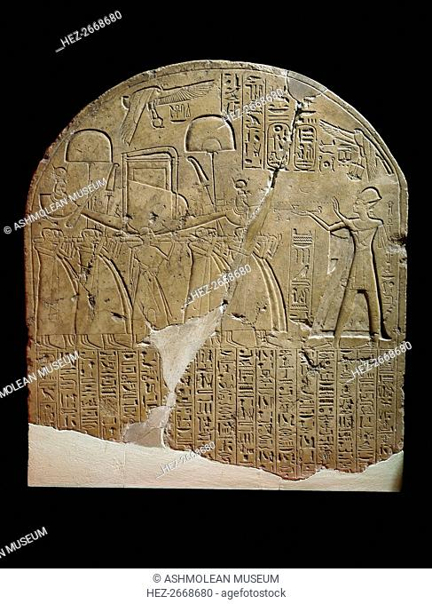 Limestone stela depicting Ramesses II offering incense to Isis, XIXth Dynasty (c1292 BC-c1190 BC). Artist: Unknown