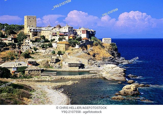 Pantokratos or Pantocrator Monastery and Aegean Sea Shoreline Mount Athos Greece