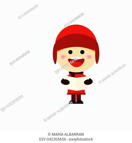Christmas boy singing carols on a white background. Vector illustration