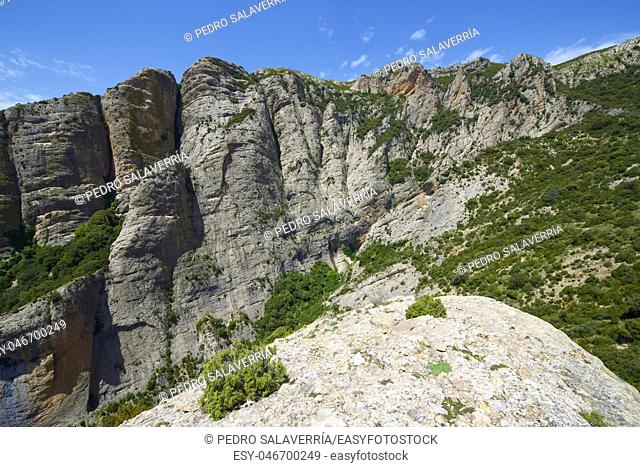 Rock walls in Baldonsera Valley, Guara Mountains, Pyrenees in Spain